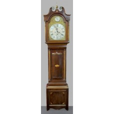 Early 19th c. English Mahogany Brass Arched Dial Longcase Clock