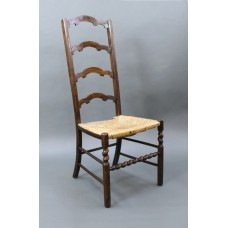 Early 20th c. Beech Ladderback Occasional Chair with Rush Seat