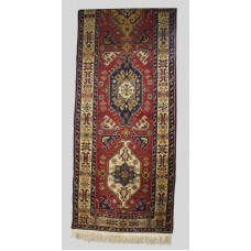 Early 20th c. Persian Hand Knotted Wool Runner Rug 15 x 3ft