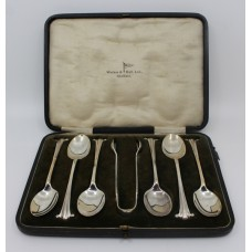 Early 20th c. Cased Solid Silver Set of 6 Tea Spoons & Sugar Tongs