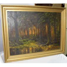Early 20th c. Woodland Landscape Oil on Canvas