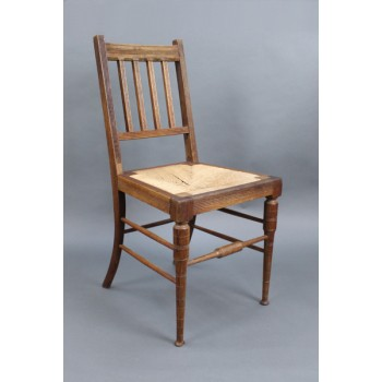 Edwardian Beech Occasional Chair with Rush Seat