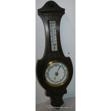 Edwardian Carved Oak Barometer