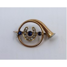 Edwardian Diamond & Sapphire Gold Hunting Horn Brooch