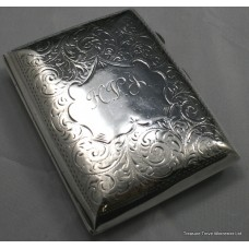 Edwardian Silver Engraved Hip Cigarette Case Birmingham 1906