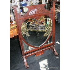 Edwardian Mahogany Engraved Mirrored Fire Screen
