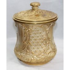 Edwardian Royal Worcester Gilded Biscuilt Jar & Cover