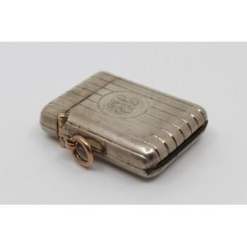 Edwardian Sampson Mordan Solid Silver Vesta Case with Gold Link Chester 1906