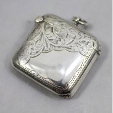 Engraved Edwardian Silver Vesta Case Birmingham 1907