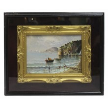Neapolitan Seascape by Elio Amoroso Oil on Board c.1950