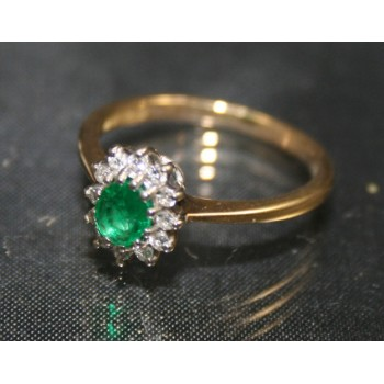 Emerald & Diamond 18ct Gold Cluster Ring