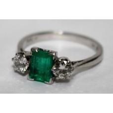 Emerald & Diamond Three Stone Platinum Ring