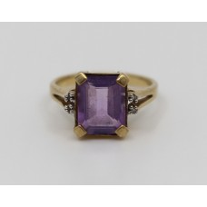 Emerald Cut Amethyst & Diamond 9ct Gold Ring