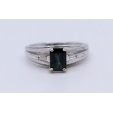 Emerald Cut Tourmaline 14ct White Gold Ring