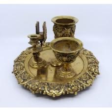 19th c. English Brass Inkwell & Writing Desk Set c.1880