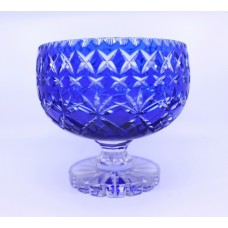 English Blue Overlay Crystal Footed Bowl c.1950