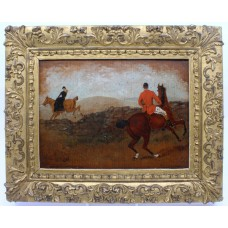 "19th c. English Oil on Board Hunting Painting ""Affair Leap"""
