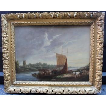 English Landscape by Henry Milbourne (fl. 1797-1826) Oil on Canvas