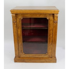 English Mid Victorian Glazed Walnut Pier Cabinet