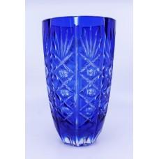 English Vintage Blue Overlay Crystal Glass Vase