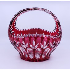 English Vintage Ruby Overlay Crystal Basket