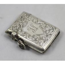 Engraved Sterling Silver Vesta Case Birmingham 1915