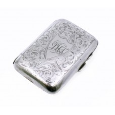 Engraved Solid Silver Early 20th c. Cigarette Case