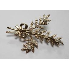 Fine 9ct Gold & Pearl Fern Leaf Brooch
