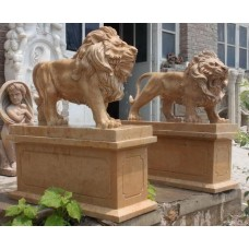Fine Pair of Antique Style Carved Lions on Bases