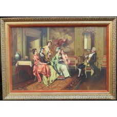 Fine Aristocratic Interior Genre Oil Painting Set in Gilt Frame