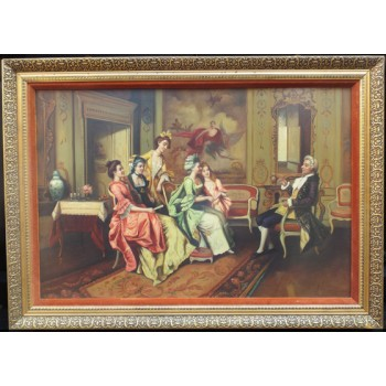 Fine Aristocratic Interior Genre Oil Painting Set in Gilt Frame