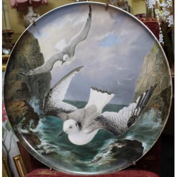 Fine 19th c. Creil et Montereau Painted Seagull Charger
