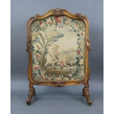 Fine French 18th c. Carved Walnut Tapestry Fire Screen