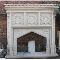 Fine Heavy Gothic Style Granite Fire Surround
