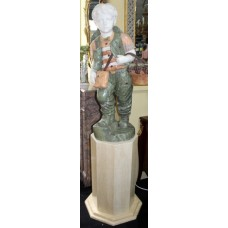 Fine Marble Sculpture of Child Grape Seller Figure on Pedestal