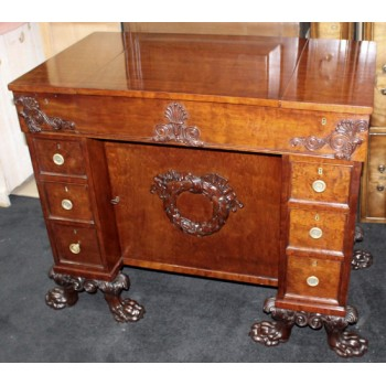 Fine Late 18th c. Mahogany Desk with Carved Feet
