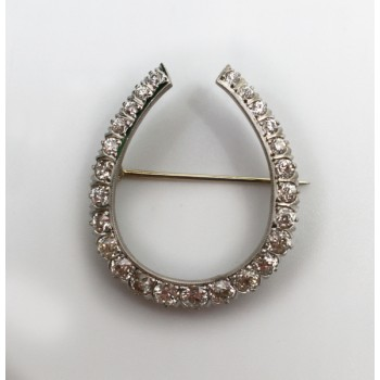 Fine Platinum Diamond Horseshoe Brooch c.1925