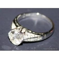 Fine Single Diamond Platinum Set Ring