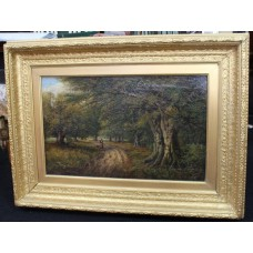 Fine 19th c. Forest Landscape Painting Oil on Canvas Signed K.E.F 1883