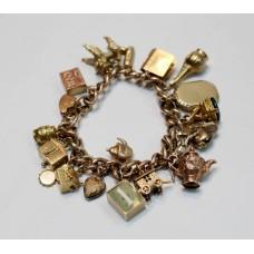 Fine Vintage Rose Gold Charm Bracelet