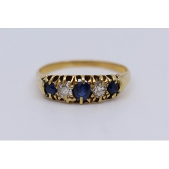 Five Stone Sapphire & Diamond 18ct Gold Ring