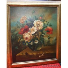 Dutch Golden Age Style Flower Still Life Oil on Canvas