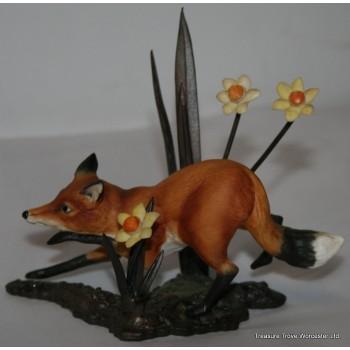 Royal Worcester Fox Porcelain on Bronze Figure