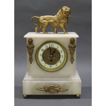 French 19th c. Alabaster Lion Mantle Clock