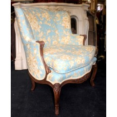 Elegant French Carved Walnut Bergere Armchair