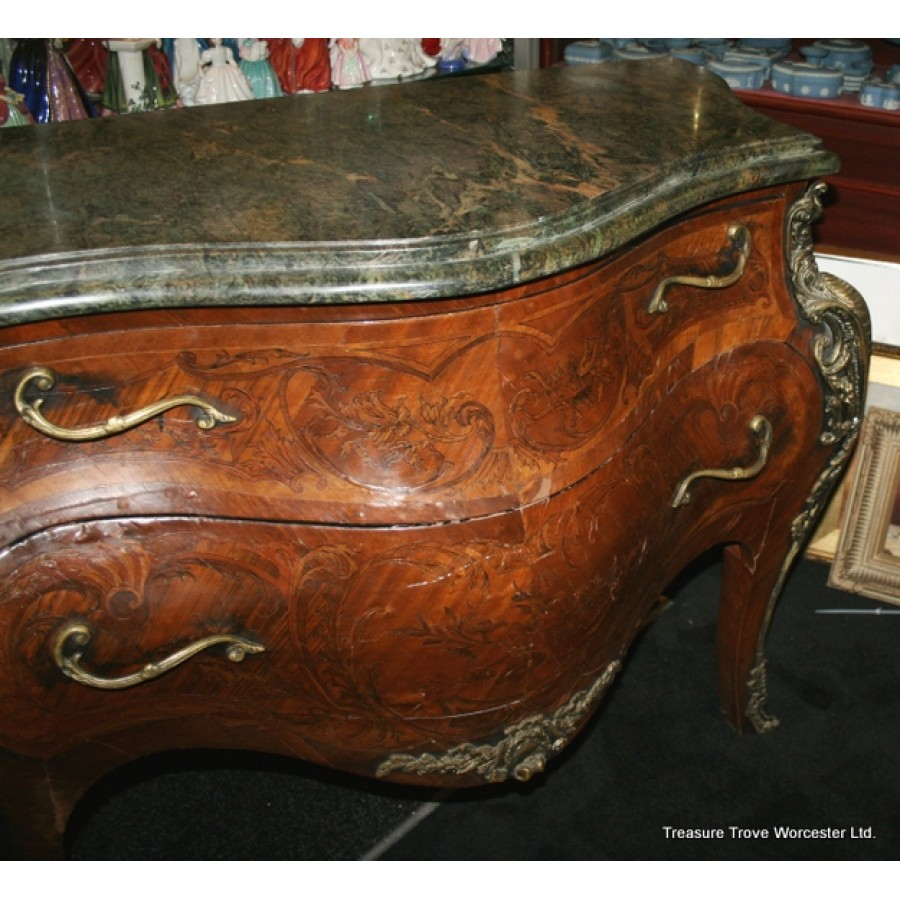 Heavy Bomb 233 Marble Topped French Marquetry Commode