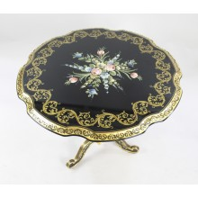 French Ebonized Hand Painted Gilt Tripod Table
