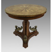 French Inlaid Circular Empire Style Centre Table