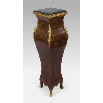 French Marble Topped Bombé Inlaid Kingwood Pedestal