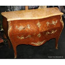 French Bombé Marble Topped Marquetry Commode c.1890